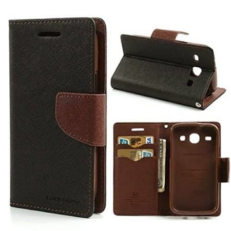 CHL Mercury Fancy Wallet Dairy FLIP COVER for Micromax Bolt Q335 - Black Brown 1