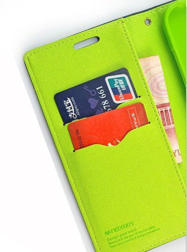 J.N. Mercury Fancy Diary Card Wallet Flip Case Back Cover For Micromax Canvas Nitro 2 E311 - Blue Green 3