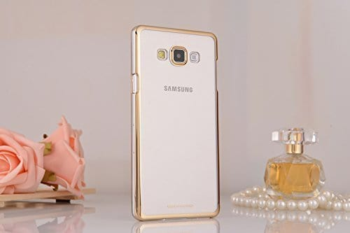 Meephone Transparent Hard Plastic Back Cover Case for Samsung Galaxy J7 (6) 2016 ( Gold Lining ) 3