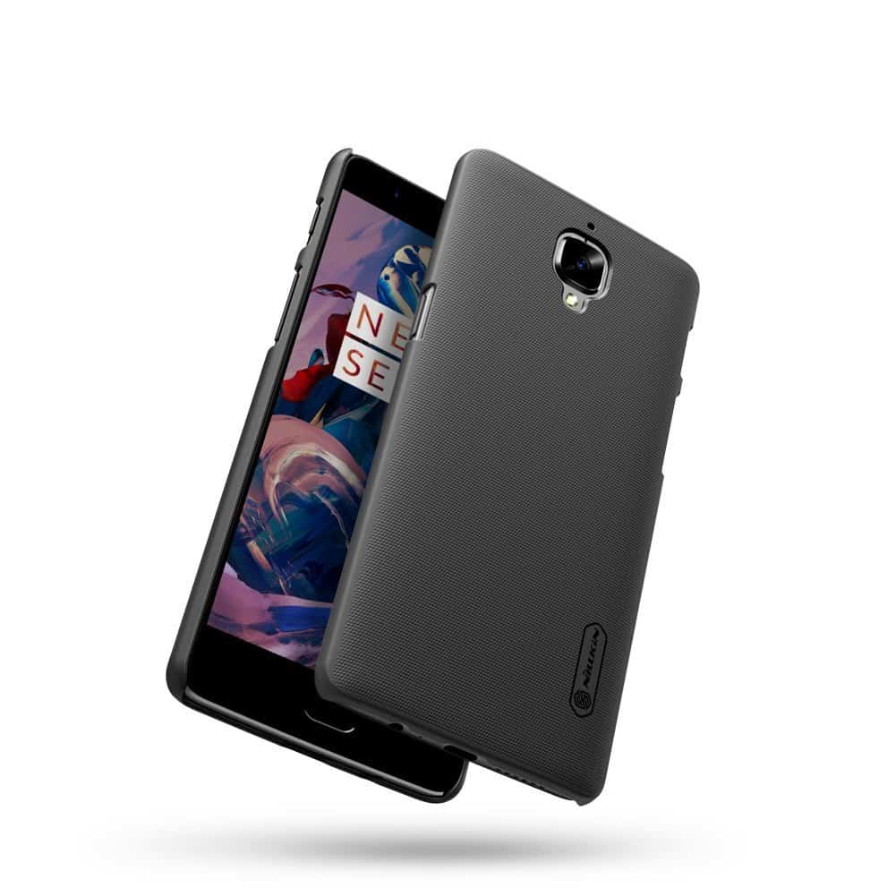 Nillkin Oneplus 3-Shield-Black Super Frosted Hard Back Cover / Case ( Black), With Screen Guard 3