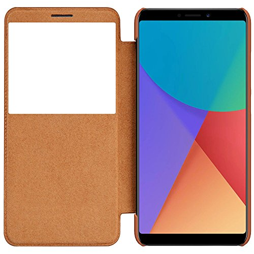 Nillkin Qin Series Royal Leather Flip Case Cover for Redmi Note 5 Pro - Brown 1
