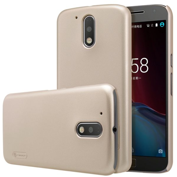 Nillkin Super Frosted Shield Hard Back Cover Case for Motorola Moto G4 Plus , Free Screen guard-GOLD 2