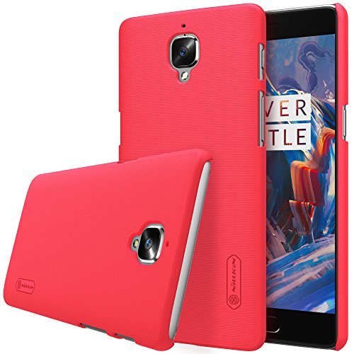 Nillkin Super Frosted Shield Hard Back Cover Case for Oneplus Three / One Plus Three / 1+3/ OnePlus 3/ One plus 3 (Red) , Free Screen guard 1