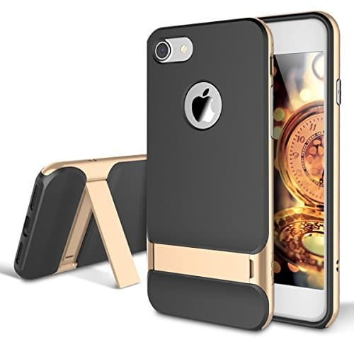 Rock Royce Kickstand Case Ultra Thin Shock Proof Dual Layer Back Cover Case For iPhone 7 4.7Inch (Golden) 1