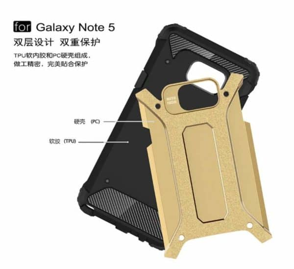 Royal Star Dual Layer Armor Neo-Hybrid Shock-Proof Back Case Cover for (Samsung Galaxy Note 5, Gold) 5