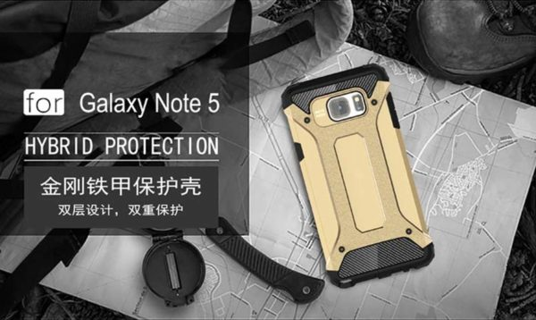 Royal Star Dual Layer Armor Neo-Hybrid Shock-Proof Back Case Cover for (Samsung Galaxy Note 5, Gold) 6