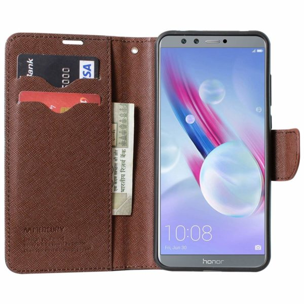 Royal Star Full Protection Fancy Diary Card Wallet Stand View Flip Case Back Cover for Huawei Honor 9 Lite (Black Brown) 5