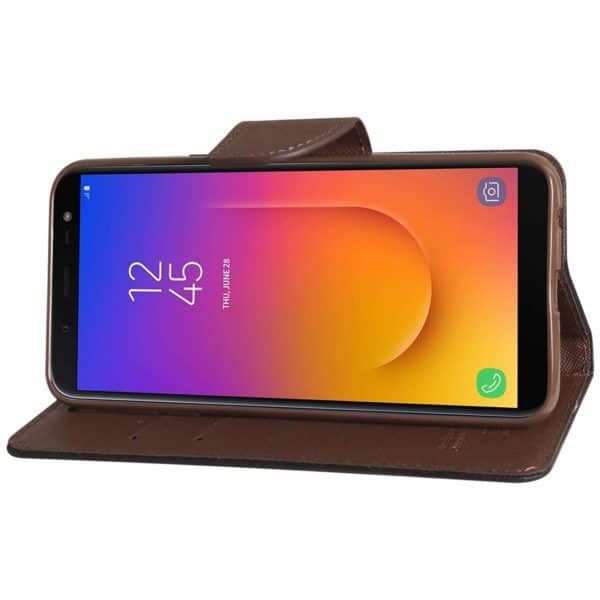 Royal Star Full Protection Fancy Diary Card Wallet Stand View Flip Case Back Cover for (Samsung Galaxy J6 (2018 Launch), Black Brown) 6