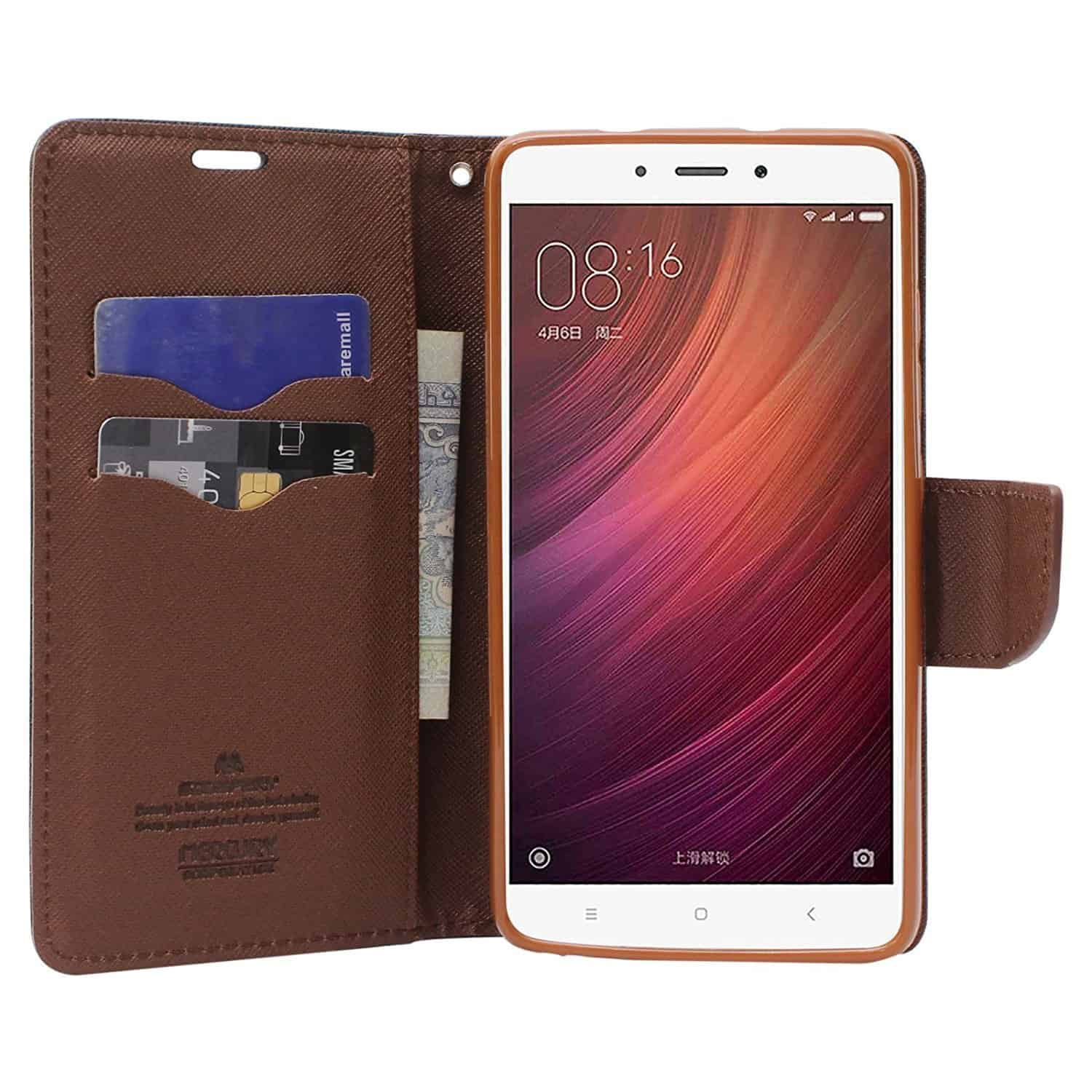 Royal Star Full Protection Fancy Diary Card Wallet Stand View Flip Case Back Cover for (Xiaomi Redmi 6, Black Brown) 4