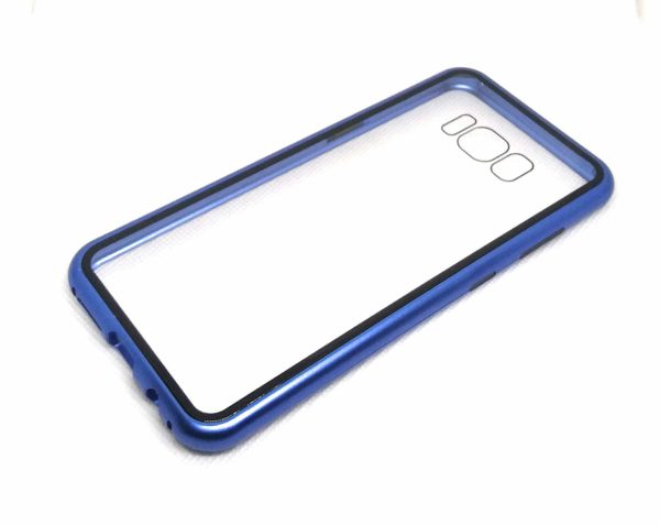 Royal Star Luxury Slim Magnetic Flip with Metal Frame & Back Side Transparent Tempered Glass Back, Built-in Powerful Magnet Flip Back Cover Case for (Samsung Galaxy S8, Red) 3