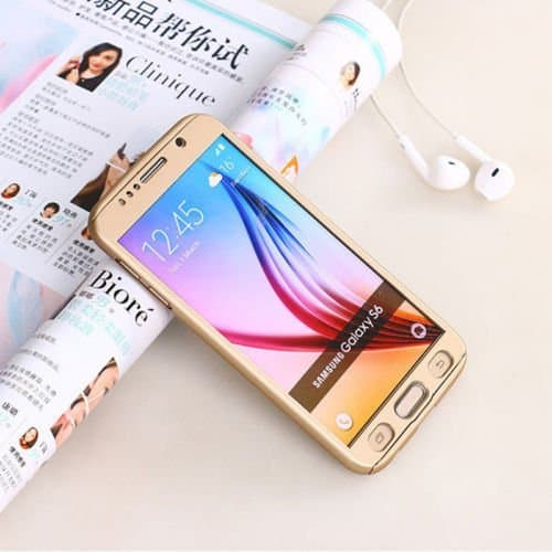 Royal Star(TM) 360 DEGREE FULL BODY PROTECTION Front + Back Cover Case with Tempered Glass For SAMSUNG GALAXY J7 ( Champagne Gold ) 1