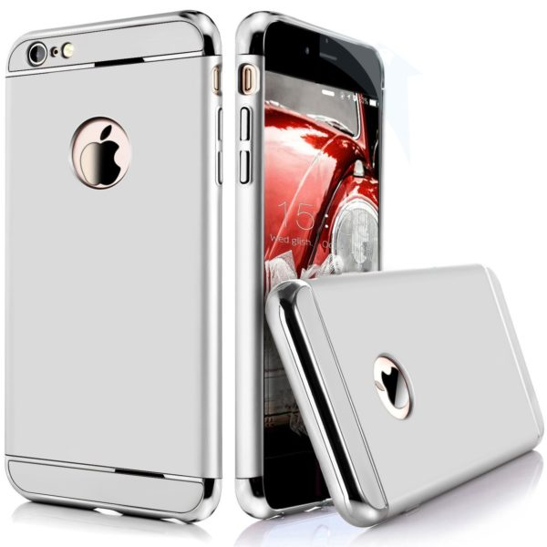 iPaky Chrome 3 Piece Hybrid Protective Back Case Cover for Apple iPhone 6 6S - Silver 2