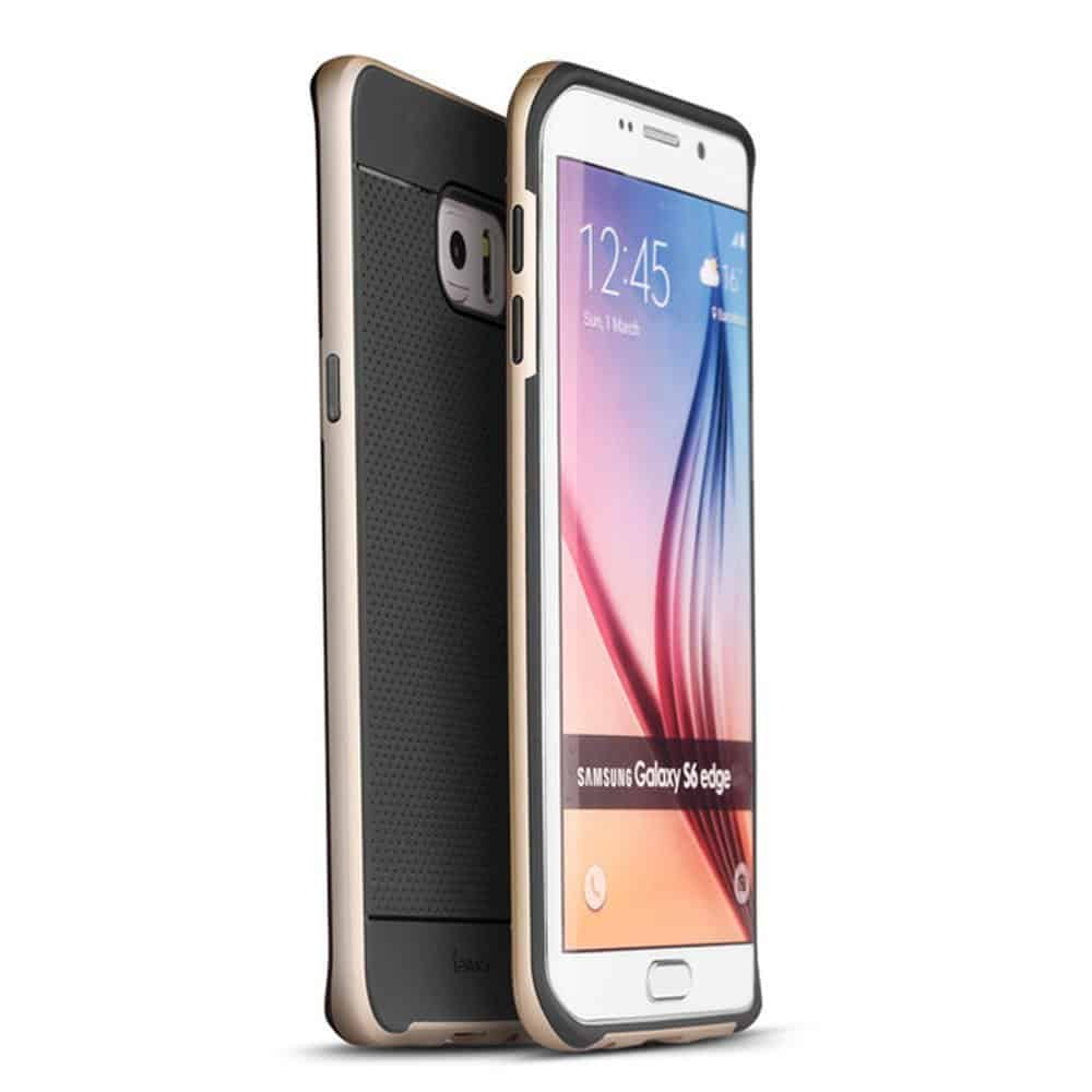 iPaky Hybrid Ultra Thin Shockproof Back + Bumper Case Cover for Samsung Galaxy S6 Edge - Gold 1