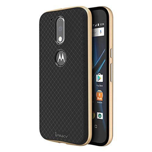 iPaky Ultra-Thin Silicon inner Black Back + PC Golden Frame Bumper Back Cover For Motorola Moto G Plus 4th Gen ,Golden 1