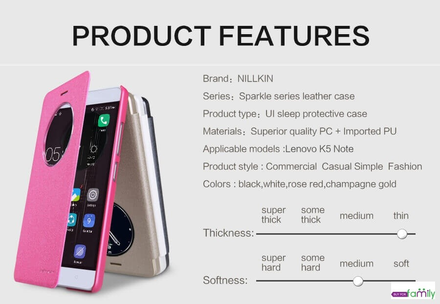 Nillkin Sparkle Smart Leather Case Flip Cover for Lenovo K5 Note with Sleep function
